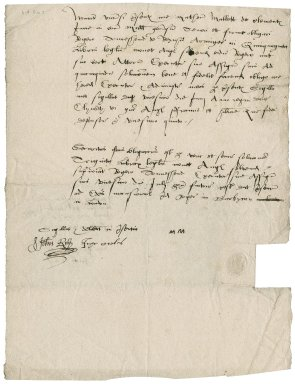 Bond from Matthew Mallett to Sir Roger Townshend (1543?-1590)