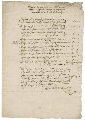 Brewer's bill to Sir Roger Townshend (1543?-1590)