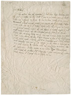 Letter from a Lady, (Roger Townshend's cousin), to unknown recipient