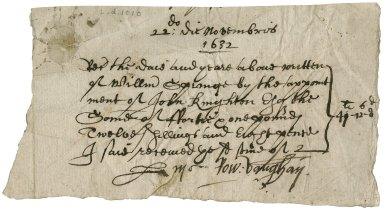Receipt signed from Rowland Vaughan for payment to John Knighton