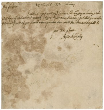 Letter from Roger de Coverley to Jacob Tonson : manuscript signed