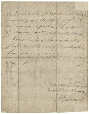 Letter from Henry Molins Davenant, Frankfurt am Main, to Jacob Tonson : autograph manuscript signed