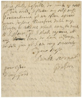 Letter from Charles Fitzroy, Duke of Grafton, London, to Jacob Tonson I : autograph manuscript signed