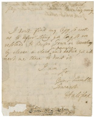 Letter from George Montagu, Earl of Halifax, Bushy Park, to Mr. Small, in York Buildings, London : autograph manuscript signed