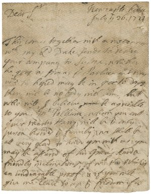 Letter from Thomas Bowers, Bishop of Chichester, Newcastle House, to Jacob Tonson I : autograph manuscript signed