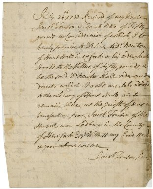 Receipt from Jacob Tonson II to Jacob Tonson I : autograph manuscript signed
