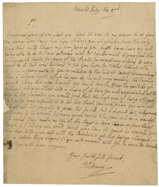 Letter from Daniel Pulteney, Utrecht, to Jacob Tonson I : autograph manuscript signed