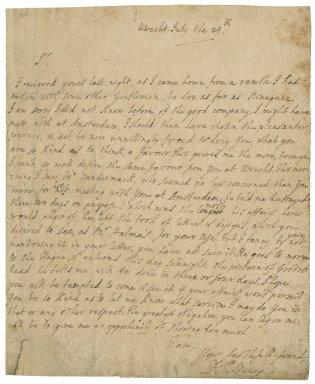 Letter from Daniel Pulteney, Utrecht, to Jacob Tonson I : autograph manuscript signed