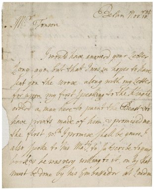Letter from Thomas Wentworth, Baron Raby, Berlin, to Jacob Tonson I : autograph manuscript signed