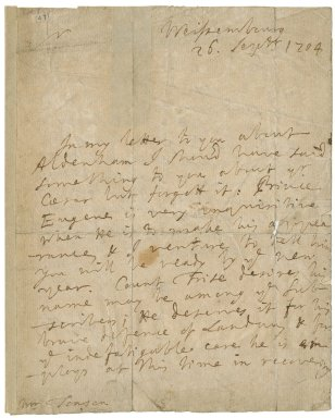 Letter from George Stepney, Weissenberg, to Jacob Tonson I : autograph manuscript signed