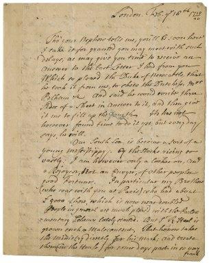 Letter from Sir John Vanbrugh, London, to Jacob Tonson I, Paris : autograph manuscript