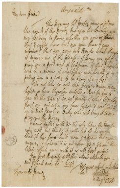 Letter from George Wilson, Symonds Inn, to Jacob Tonson II : autograph manuscript signed