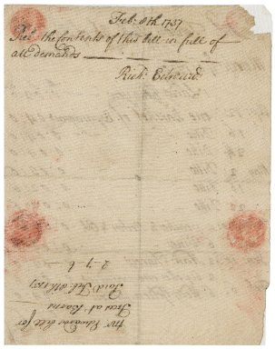 Bill from Richard Edwards to Jacob Tonson III : manuscript