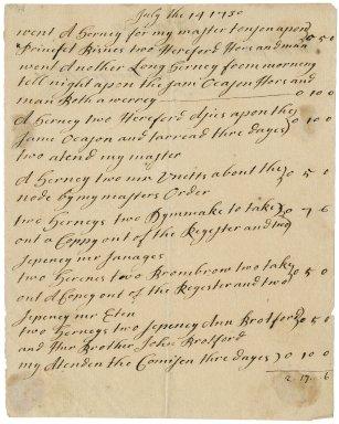 Bill from George Ellen to Jacob Tonson : manuscript