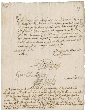 Order signed by the deputy-lieutenants, Sir Peter Prideaux, bart., Sir George Chudleigh, bart., Sir Francis Drake, bart., and Sir Samuel Rolle, to Robert Bennet for the ordering of the militia at Torrington