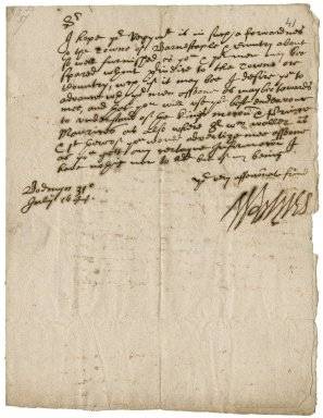 Letter from Lord Robartes, later Earl of Radnor, Bodmin, to Colonel Robert Bennet, Barnstaple