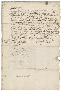 Letter from Reynold Loggett, Helston, to Edward Herle, sheriff of Cornwall, Penzance or elsewhere