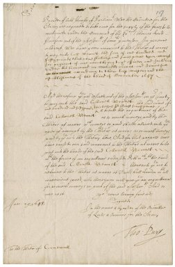 Warrant from the Committee for the army to the treasurer of Cornwall