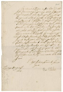 Letter from Sir Hardress Waller, London, to Robert Bennet