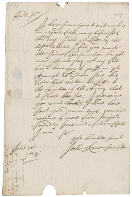 Letter from John Ravenscrofte to Robert Bennet