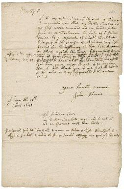 Letter from John Harris, Hayne, Devon, to Colonel Robert Bennet