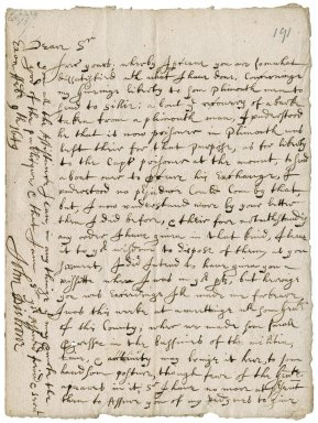 Letter from Colonel Desborough (Disbrowe), Exeter, to Colonel Robert Bennet, Hexworthy