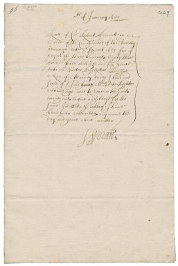 Receipt signed by J. Spratt, for the order of the commissioners of the Admiralty of December 3, 1653