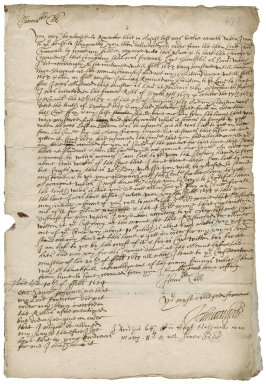 Letter from Captain John Waight, Pendennis, to Colonel Robert Bennet, Westminster