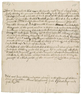 The entry and claim of Major John Clobery to his third of the manor of Lawhitton