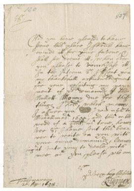 Letter from Sir Richard Vyvyan, Trelowarren, to Colonel Robert Bennet, Helston, Cornwall