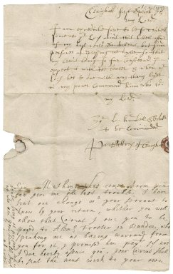 Letter from Patrick Rattray of Craighall to the Earl of Kinghorne, Craighall
