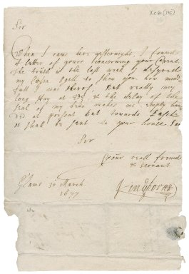 Letter from Earl of Kinghorne to Patrick Rattray of Craighall, Glamis