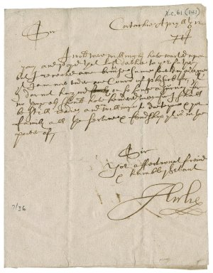 Letter from James Ogilvy, 2nd Earl of Airlie to James Rattray of Craighall, Cortachy
