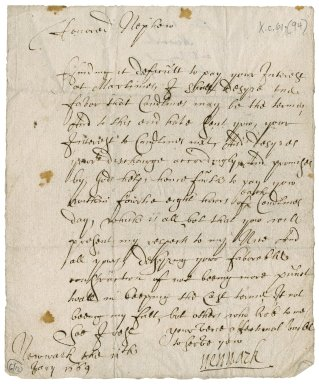 Letter from Lord Newark to Patrick Rattray of Craighall, Newark