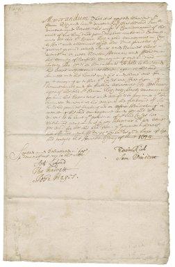 Memorandum of an agreement between Sir Edwin Rich and Samuel Vincent, Esq.