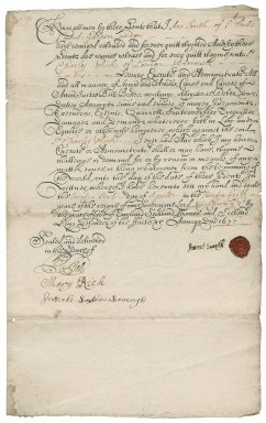 Quitclaim by Ann Smith of St. Paul's, Covent Garden, widow, to Sir Charles Rich
