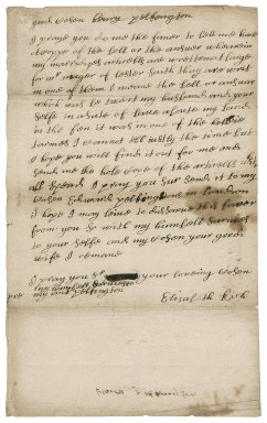 Letter from Lady Elizabeth Rich to Henry Pilkington