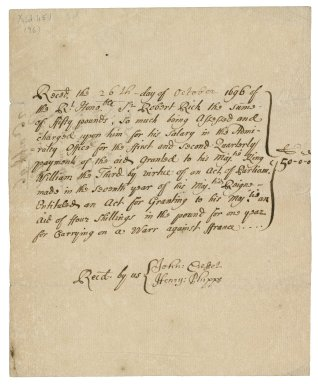 Receipt from John Cresset and Henry Phipps to Sir Robert Rich for the tax on his salary