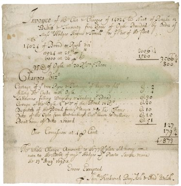 Invoice of the cost and charges of rusk or biscuit, and oil provided for the use of the fleet by Messrs. Hodges Haynes, and Terrell