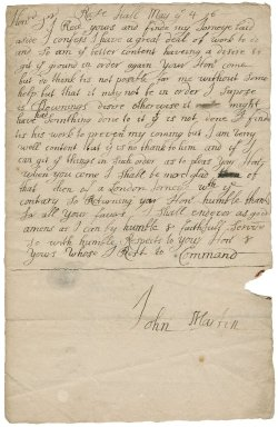 Letter from John Martin, Roos Hall (Rosehall), to Sir Robert Rich