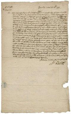 Letter from John Nicholls, Beccles, Suffolk, to Sir Robert Rich