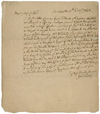 Letter from John Postle, Southwold, Suffolk, to Sir Robert Rich