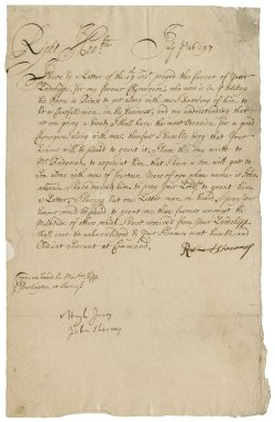 Letter from Robert Stevens, on board the Burlington at Sheerness, to Sir Robert Rich