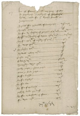 Great Britain. Office of the revels. Here after ffoloweth [the] costes and charges off all the apyntynges & gyldynges off Dyuerses thynges made ffor ye kynges Reuvelles at Hampton court.
