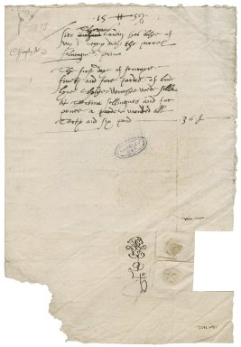 Dolin, Anthony. Bill rendered to Sir Thomas Cawarden for linen. February 1, 1558/59 with attached receipt,