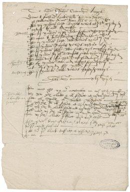 Hicks, Juliana (Arthur). Bill for stuffs. To Sir Thomas Cawarden.