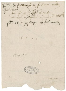Great Britain. Office of the revels. Memorandum of delivery to Sir Thomas Cawarden of three dozen of hats.