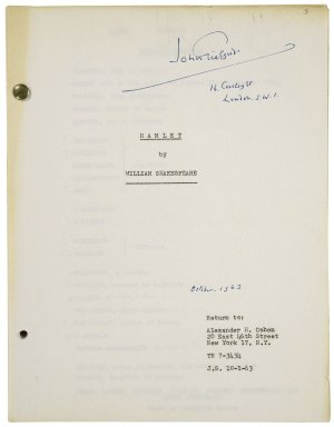 Typed script of Richard Burton's Hamlet / directed by John Gielgud.
