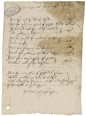 Great Britain. Office of the revels. Itm layd oute for a maske a s[h]raftyed [i.e. Shrovetide].