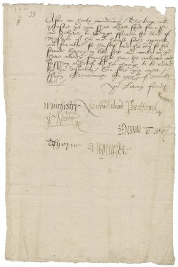 Great Britain. Privy Council. Warrant signed by eight members for the delivery of apparel to George Ferrers. Greenwich.